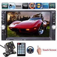 6.6 Inch HD 2 Din MP3 MP4 Player Touch Screen Car FM Radio Stereo Bluetooth +Rear Camera 2 USB Port