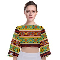 Ovals Rhombus And Squares Tie Back Butterfly Sleeve Chiffon Top