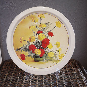 Vintage Round Tin Tray with Flowers Arragement Print - Made in Hong Kong