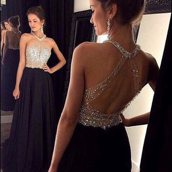 Halter Black Prom Dresses,Beads Prom Dresses,Long Evening Dress