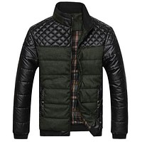 Men's Jackets and Coats PU Patchwork Designer Jackets Men Outerwear Winter Fashion Male Clothing