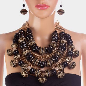 Faceted Dramatic Glass Wood Bead Multi Strand Statement Necklace 9d38912b7f