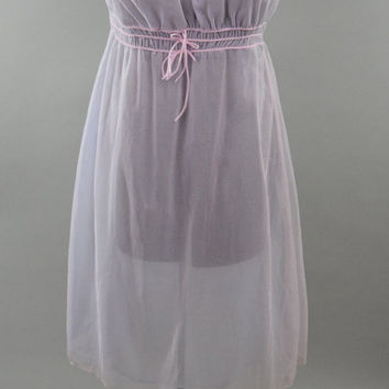 50s/60s Purple & Pink Sheer Nylon Chiffon Nightgown // Puff Sleeves and Elastic Waist // Romantic Mad Men Era Pinup Lingerie Negligee