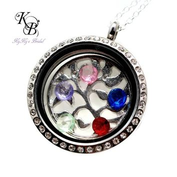 Family Tree Locket, Tree of Life Locket, Mothers Locket, Birthstone Locket, Mothers Jewelry, Floating Locket Necklace, Mothers Day Gift | KyKy's Bridal, Handmade Bridal Jewelry, Wedding Jewelry