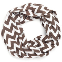 Taupe Chevron Infinity Scarf