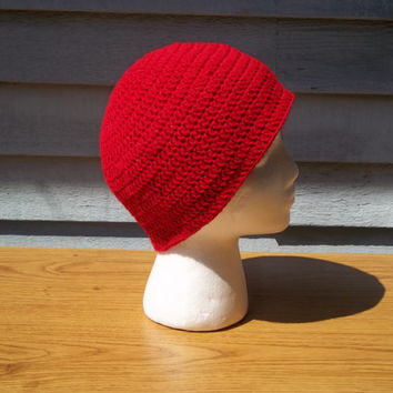 Crocheted Red Hat, Red Sparkly Beanie