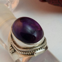 Sterling Silver Vintage Antique Ring with Amethyst from SterlinGold Treasures