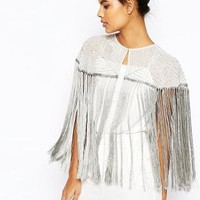 ASOS | ASOS Embellished Fringe Cape at ASOS