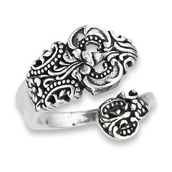 Ornate Sterling Silver Spoon Ring
