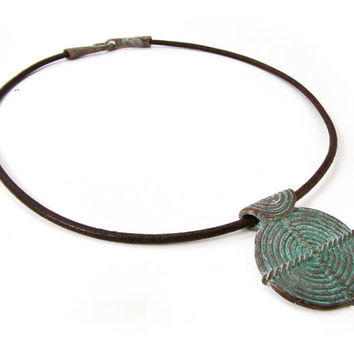 Large Spiral Pendant Necklace, Ethnic Patina Necklace, Brown Leather Necklace