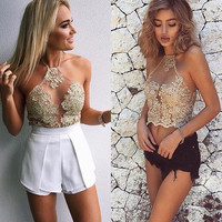 Halter Lace Transparent Sleeveless Backless Sheath Vest