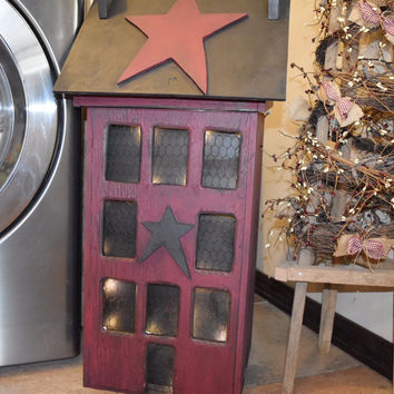 Primitive Trash Bin, with Lights, The Rustic Saltbox Exclusive House