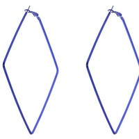 Blue Square Hoop Earring