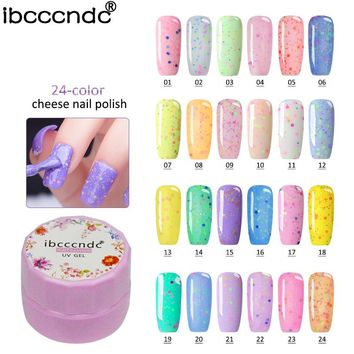 7ml UV LED Cheese Sand Nail Gel 24 Colors Gel Polish Long-lasting Soak off  Varnish Nail Shilak GelPolish For Nail Art Design