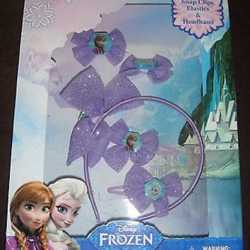 Frozen 5-piece hair accessory set featuring Anna & Elsa&sparkly purple bows-New!