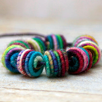 3mm Hole Handmade Fabric Textile Beads for Artisan Jewelry Designs