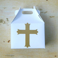 Jewelry Gift Wrap Box - Box for Rings - Gold, Cross, Religious, Favor, Mini Box, White, Paper Box, Holiday Decoration, Catholic, Religion