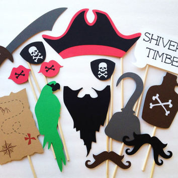 14-Piece Pirate Party Photo Booth Prop Set - Pirate Birthday Party - Pirate Photobooth Props - Halloween Props