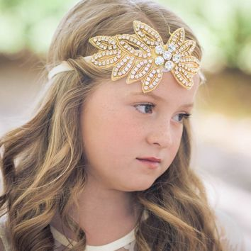 Vivian Ivory & Gold Crystal Jewel Headband