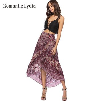 Women 2018 Summer Boho Floral Print Pleated Long Maxi Skirt Bohemian Vintage Floor Length Sexy Ruffle Beach Skirts Womens