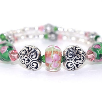 Antique silver plated heart bead memory wire bracelet, Green peach Swarovski crystal, Pink green flower glass bead, Memory wrap bracelet