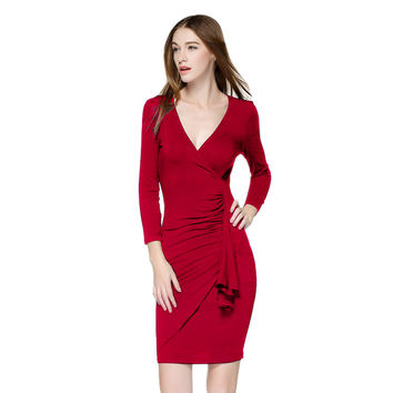 New Fashion Women Elegant wrap Dress Lady V Neck 3/4 Sleeve Slim Pleated Workwear Dresses  Summer New vestidos