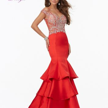 Dreagel Romantic Sweetheart Crystal Beaded Mermaid Prom Dress 2017 Glamorous Tiered Taffeta Formal Gown Robe De Soiree Plus Size