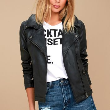 Zelia Black Vegan Leather Moto Jacket