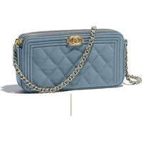 Grained Calfskin & Gold-Tone Metal Blue BOY CHANEL Clutch with Chain | CHANEL