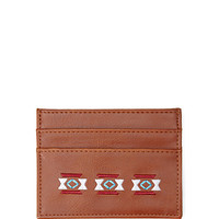 Faux Leather Embroidered Cardholder
