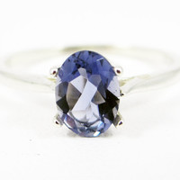 Iolite Oval Solitaire Sterling Silver Ring