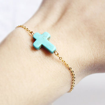 sideways cross bracelet - pop of color and gold chain