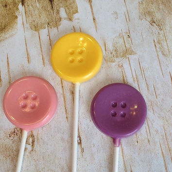 12 Cute as a Button Chocolate Lollipops Baby Shower Birthday Party Favors Sweets Table Candy Buffet