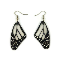 Transparent and black Monarch butterfly wings earrings, handmade plastic fancy dangles earrings, recycled CD butterfly fairytale earrings