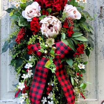 Fall winter wreath, plaid Christmas, Christmas swag, french country cottage, fall swag, farmhouse wreath, red wreath, red plaid, winter door