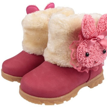 Baby Girls Infant Toddler Winter Fur Shoes Snow Boots rabbit for 9-30 months baby = 1931503428