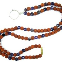 Earthing Rudraksha Lapis Lazuli Necklace Mental Clarity Energy Beads Yoga Jewelry With Pendent