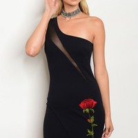 C38-A-2-D6104 DARK NAVY ROSE PATCH DRESS 2-2-2