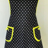 Retro Apron, 50s, Polka Dots, Black and Yellow, Vintage Inspired, Full Apron, KitschNStyle