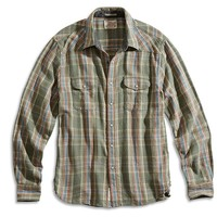 Lucky Brand Grove Plaid Western Shirt Mens - Green Plaid