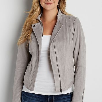 faux suede scuba jacket with ribbed knit | maurices