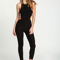 BLACK CUT OUT SLEEK JUMPSUIT