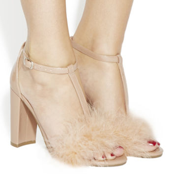 Office Native Fluff Detail Heels Nude Patent - High Heels