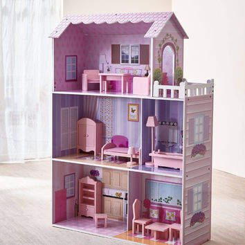Teamson Kids - Fancy Mansion Doll House (w/ 13 pcs furniture)