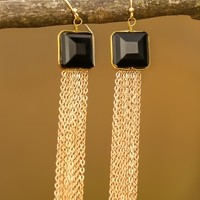 Winter Icicles Earrings-Onyx
