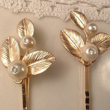 Vintage Ivory Pearl & Rhinestone Gold Leaves Bridal Hair Pins, Pair Heirloom Gold Plated Jeweled Leaves Bobby Pins Set of 2 Woodland Wedding