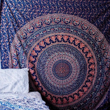 Handmade Cotton Mandala Bedspread Throw Bohemian Backdrop Medallion Yoga Meditation Picnic Garden Beach Throw Boho Gypsy Dorm Decor Living Room Hippie Hippy Wall Hanging Tapestry