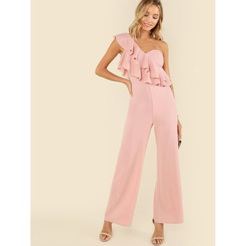 Ruffle Tiered One Shoulder Jumpsuit