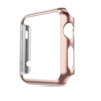 DCK4S2 Apple Watch Case 38 mm Series 1 with Buit in Screen Protector Glass, Honest kin Thin Pc Plated Plating Protective Bumper Case for Apple Watch 38mm 2015 -Rose Gold