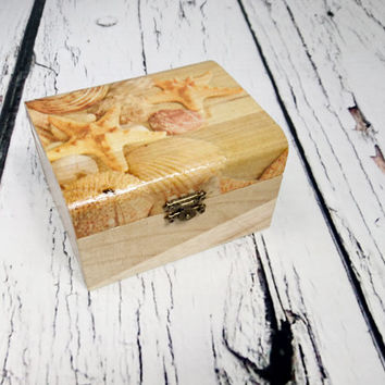 MADE ON ORDER Decoupage wooden trinket box bridesmaid gift personalised sea shells starfish beach wedding decoupage small box gift for her